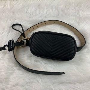 Steve Madden quilted belt purse pack black medium